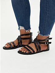 Black Faux Leather Strappy Gladiator Sandal, BLACK, hi-res