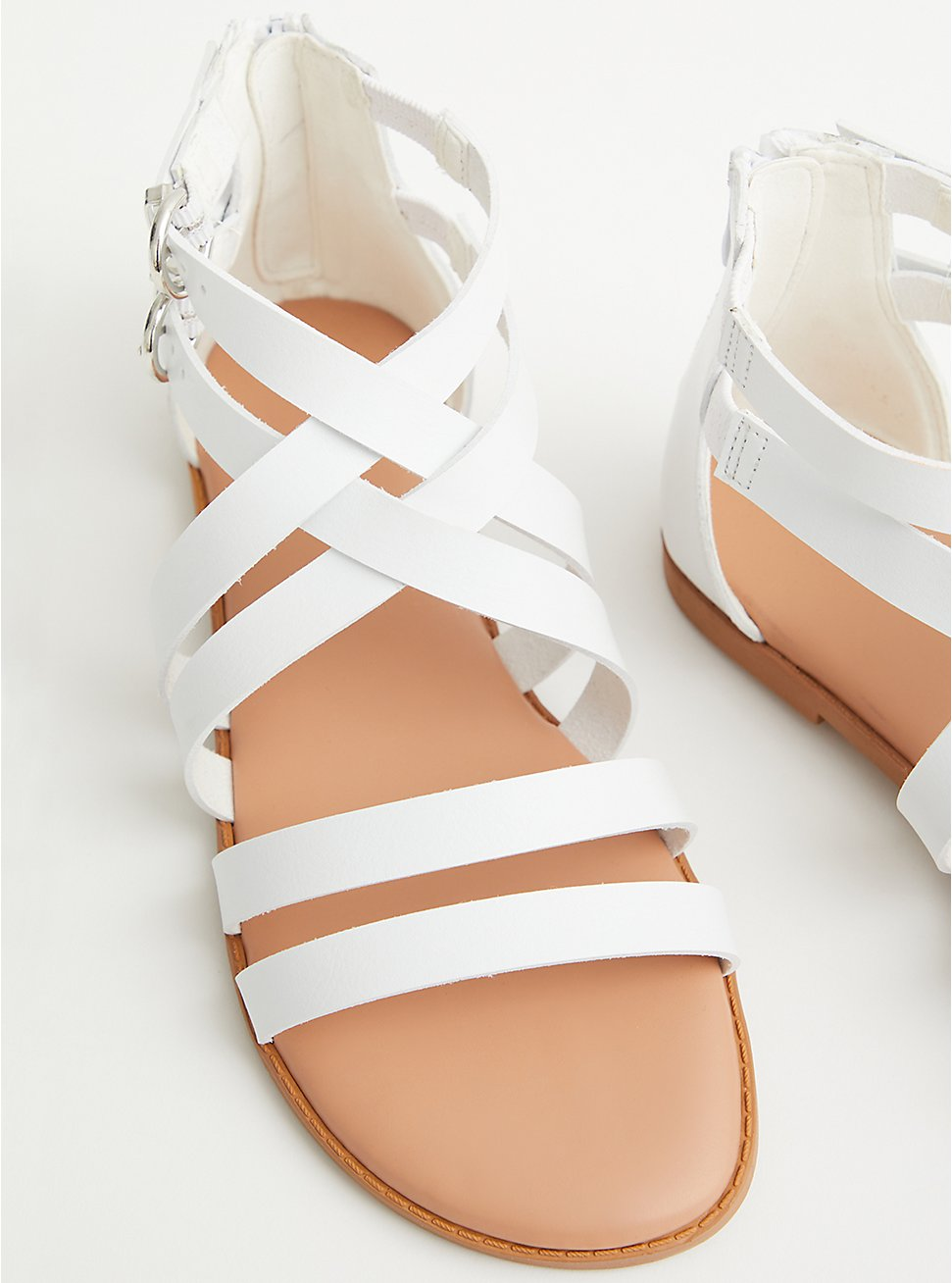 White Faux Leather Strappy Gladiator Sandal, WHITE, hi-res