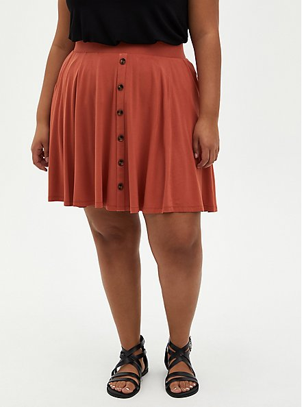Auburn Super Soft Button Front Mini Skirt, , hi-res