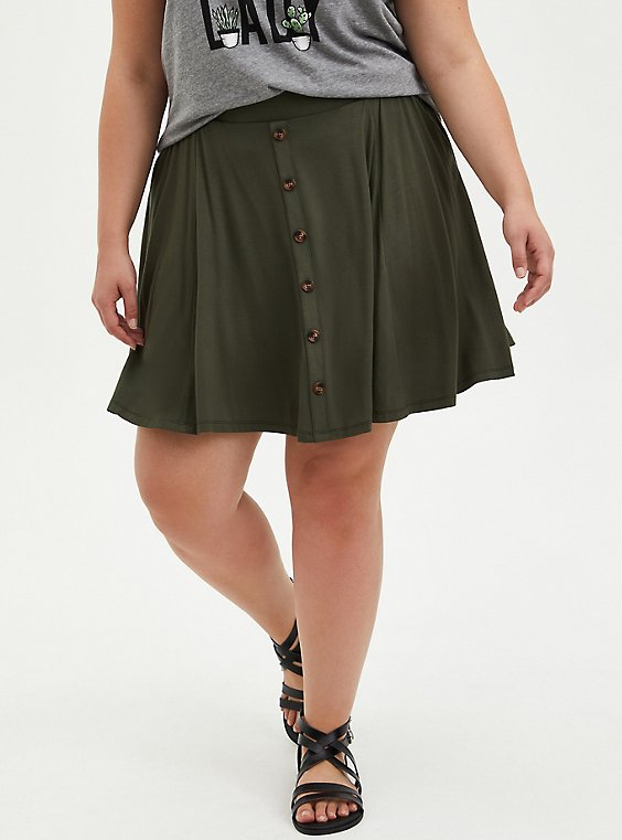 Olive Super Soft Button Front Mini Skirt, DEEP DEPTHS, hi-res