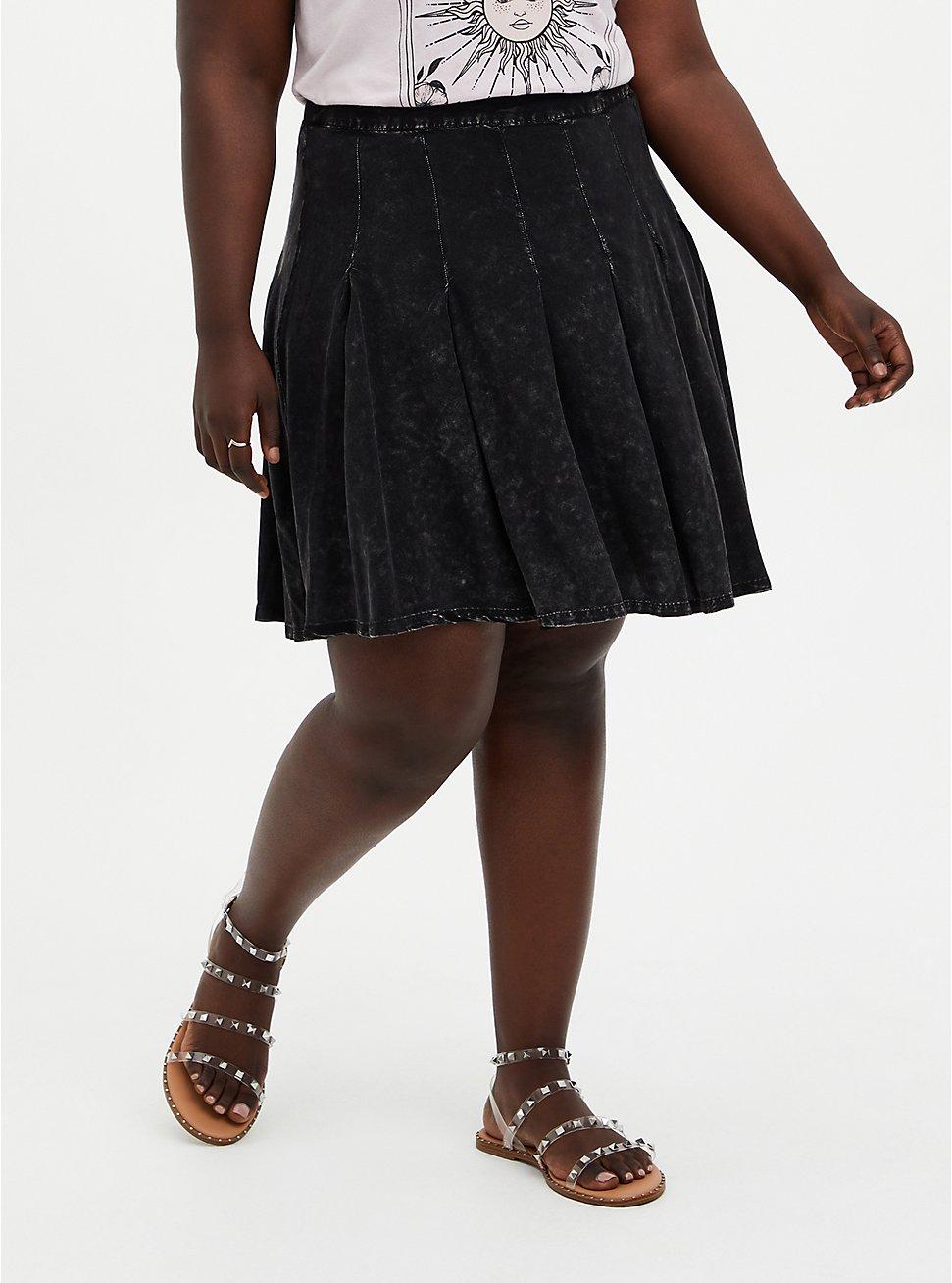 Black Wash Challis Skater Skirt, DEEP BLACK, hi-res