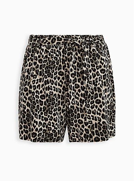 Leopard Challis Paperbag Tie Front Short, OTHER PRINTS, hi-res