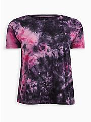 Pink Tie Dye Crop Wicking Active Tee, TIE DYE, hi-res