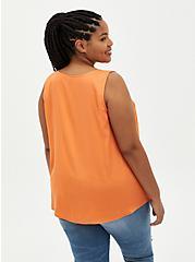 V-Neck Tank - Soft-Stretch Challis Orange , NECTARINE, alternate