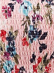 Pink Floral Clip Dot Smocked Peplum Top, FLORAL - PINK, alternate