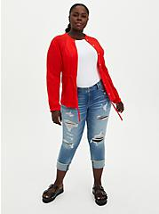 Red Gauze Embroidered Jacket, FIERY RED, alternate