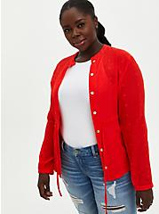 Red Gauze Embroidered Jacket, FIERY RED, hi-res