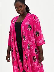 Pink Skull Chiffon Hi-Lo Kimono, SKULLS - PINK, alternate