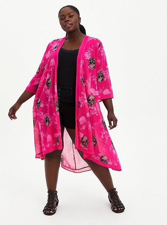 Pink Skull Chiffon Hi-Lo Kimono, SKULLS - PINK, hi-res