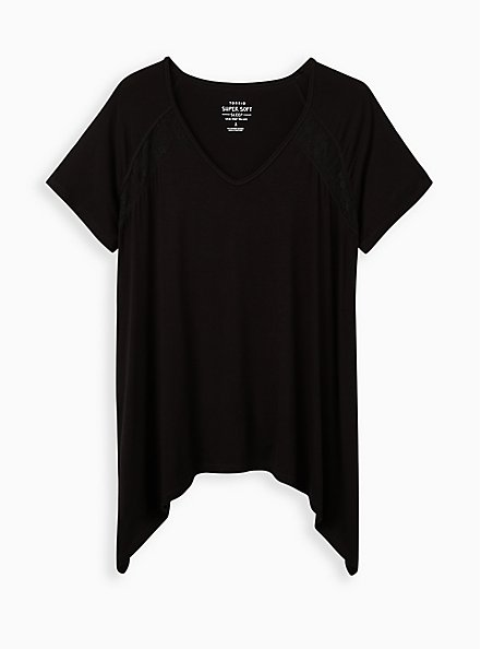 Black Super Soft Lace Inset Sleep Tee, DEEP BLACK, hi-res