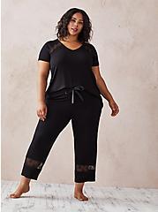 Black Super Soft Lace Inset Crop Sleep Pant, DEEP BLACK, alternate