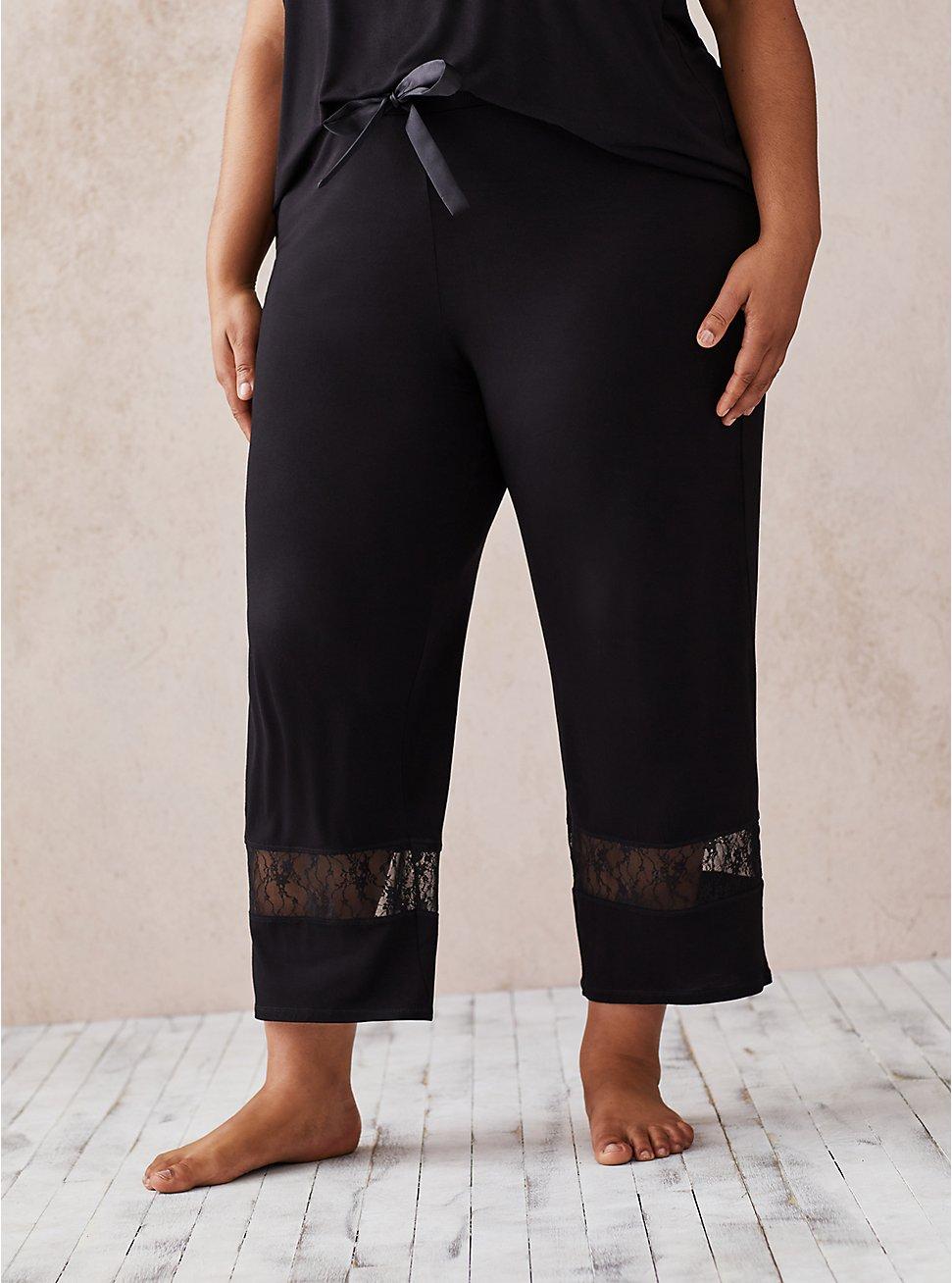 Black Super Soft Lace Inset Crop Sleep Pant, DEEP BLACK, hi-res