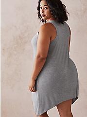 Heather Grey Super Soft Rib Hanky Hem Sleep Shirt, MULTI, alternate