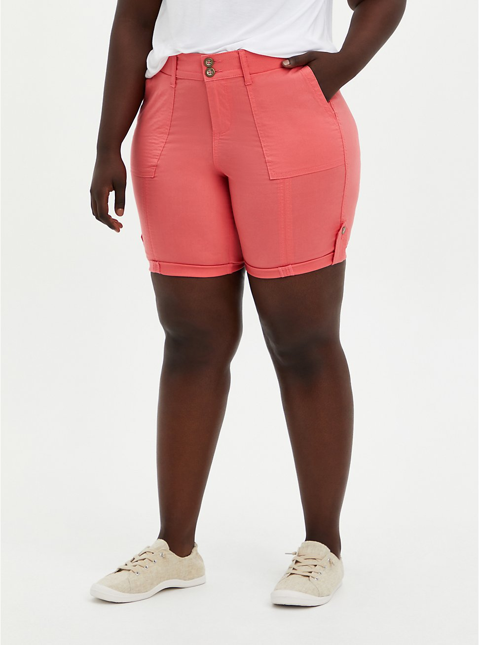 Pink Poplin Bermuda Short, CORAL, hi-res