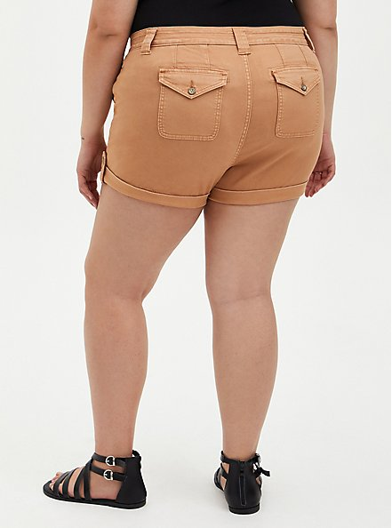 Plus Size Brown Buttonfly Twill Military Short, BROWN  LIGHT BROWN, alternate