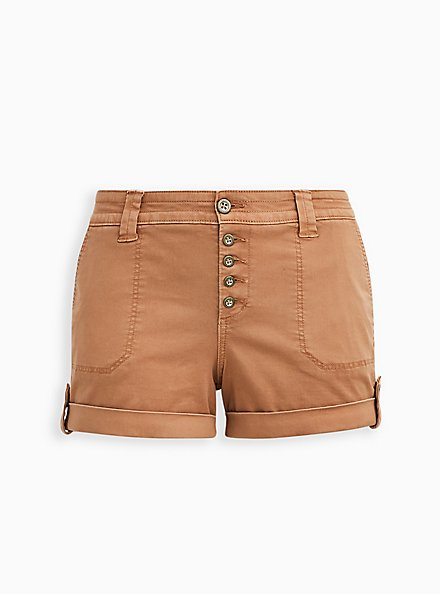 Plus Size Brown Buttonfly Twill Military Short, BROWN  LIGHT BROWN, hi-res
