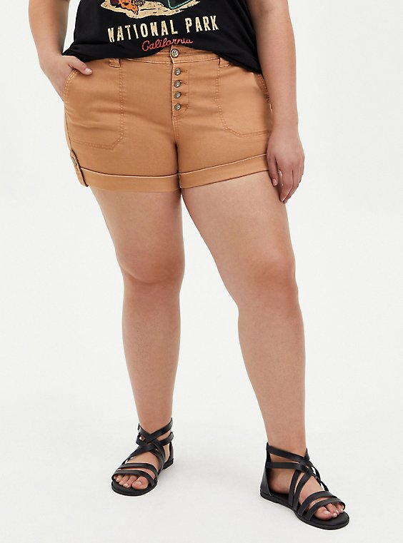 Brown Buttonfly Twill Military Short, BROWN  LIGHT BROWN, hi-res