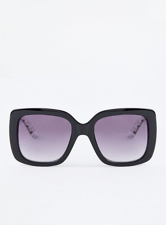 Black Square Polka Dot Sunglasses, , hi-res
