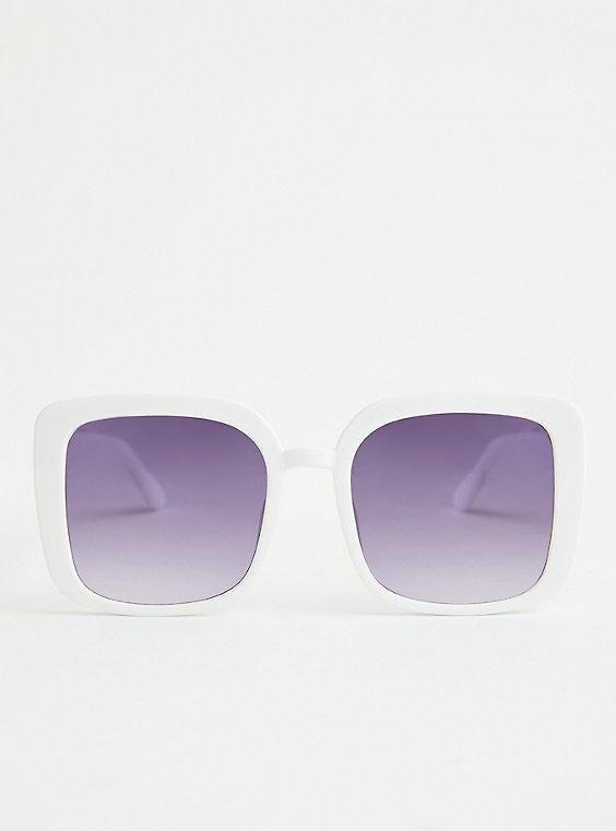 White Oversized Square Sunglasses, , hi-res