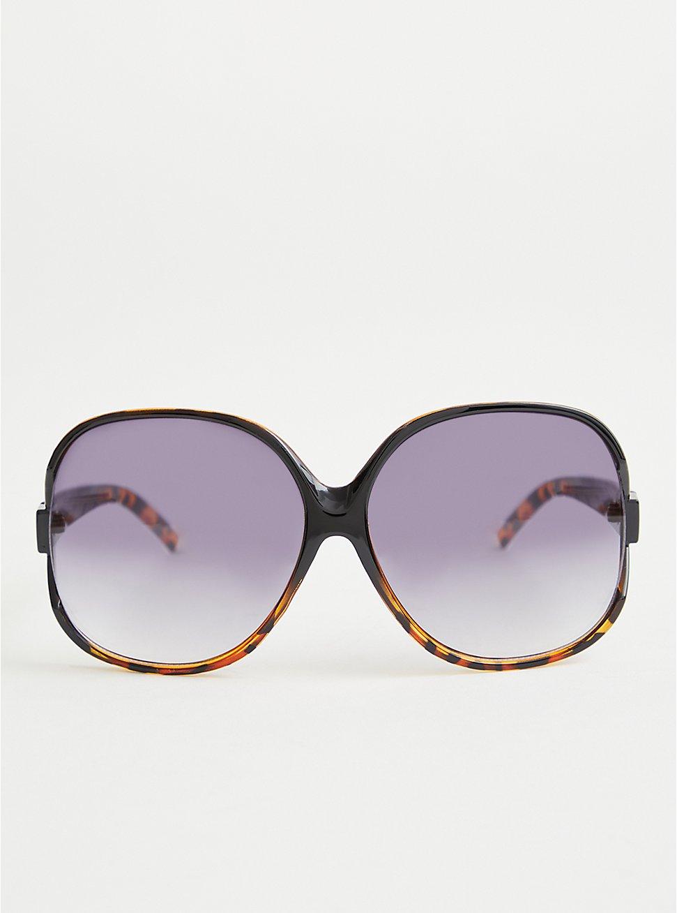 Black and Tortoise Fade Oversized Sunglasses, , hi-res