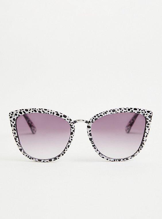 Black and White Leopard Cat Eye Sunglasses, , hi-res