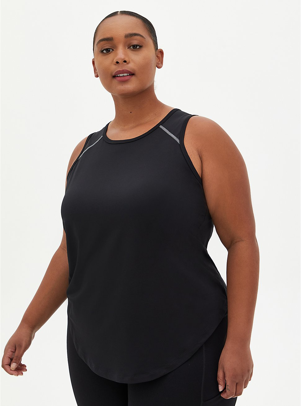 Black Tech Jersey Wicking Active Tank , DEEP BLACK, hi-res