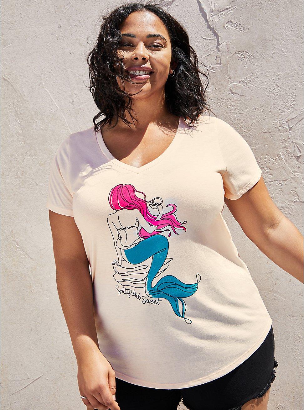 Plus Size Girlfriend Tee - Signature Jersey Pink Mermaid , PEARL, hi-res
