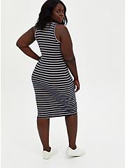 Blue Stripe Rib Bodycon Dress , STRIPE - BLUE, alternate