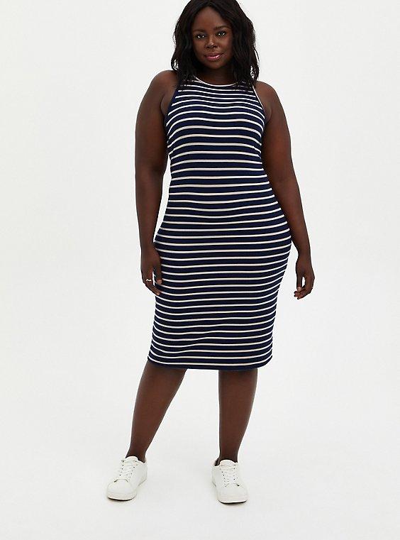 Blue Stripe Rib Bodycon Dress , , hi-res