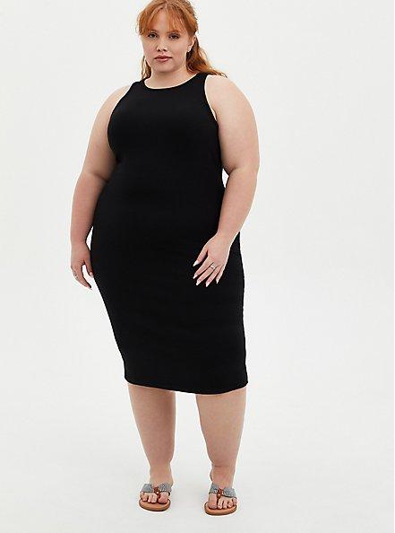 Black Rib Bodycon Dress, DEEP BLACK, alternate