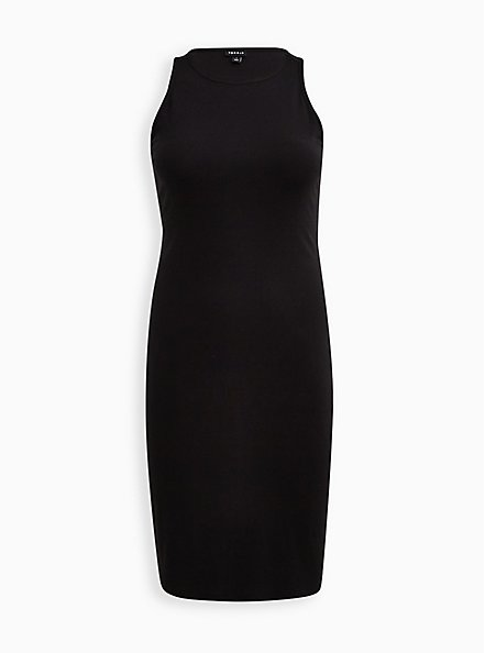 Black Rib Bodycon Dress, DEEP BLACK, hi-res