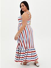 Super Soft Red & Blue Stripe Tiered Maxi Dress , STRIPE - MULTI, alternate