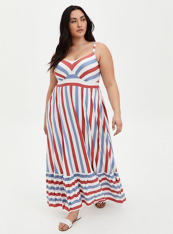 Super Soft Red & Blue Stripe Tiered Maxi Dress , , hi-res