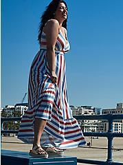 Super Soft Red & Blue Stripe Tiered Maxi Dress , STRIPE - MULTI, hi-res