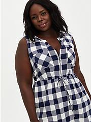 Plaid Stretch Challis Zip Front Drawstring Shirtdress , PLAID - NAVY, alternate