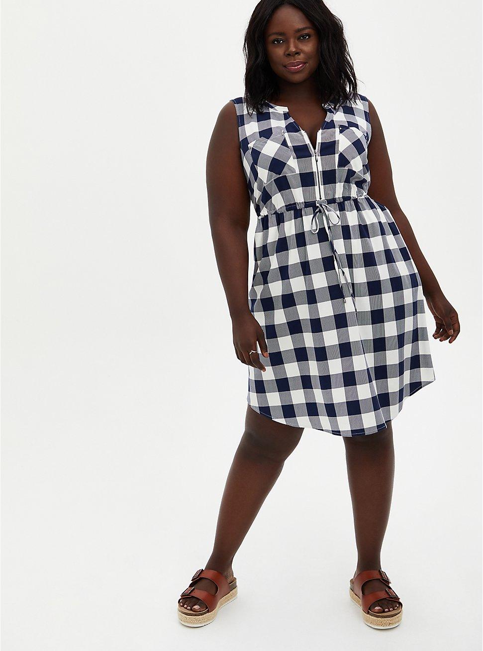 Plaid Stretch Challis Zip Front Drawstring Shirtdress , PLAID - NAVY, hi-res
