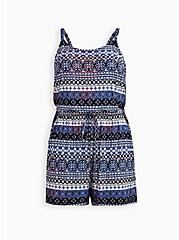 Plus Size Blue Multi-Stripe Super Soft Romper, STRIPE - BLUE, hi-res
