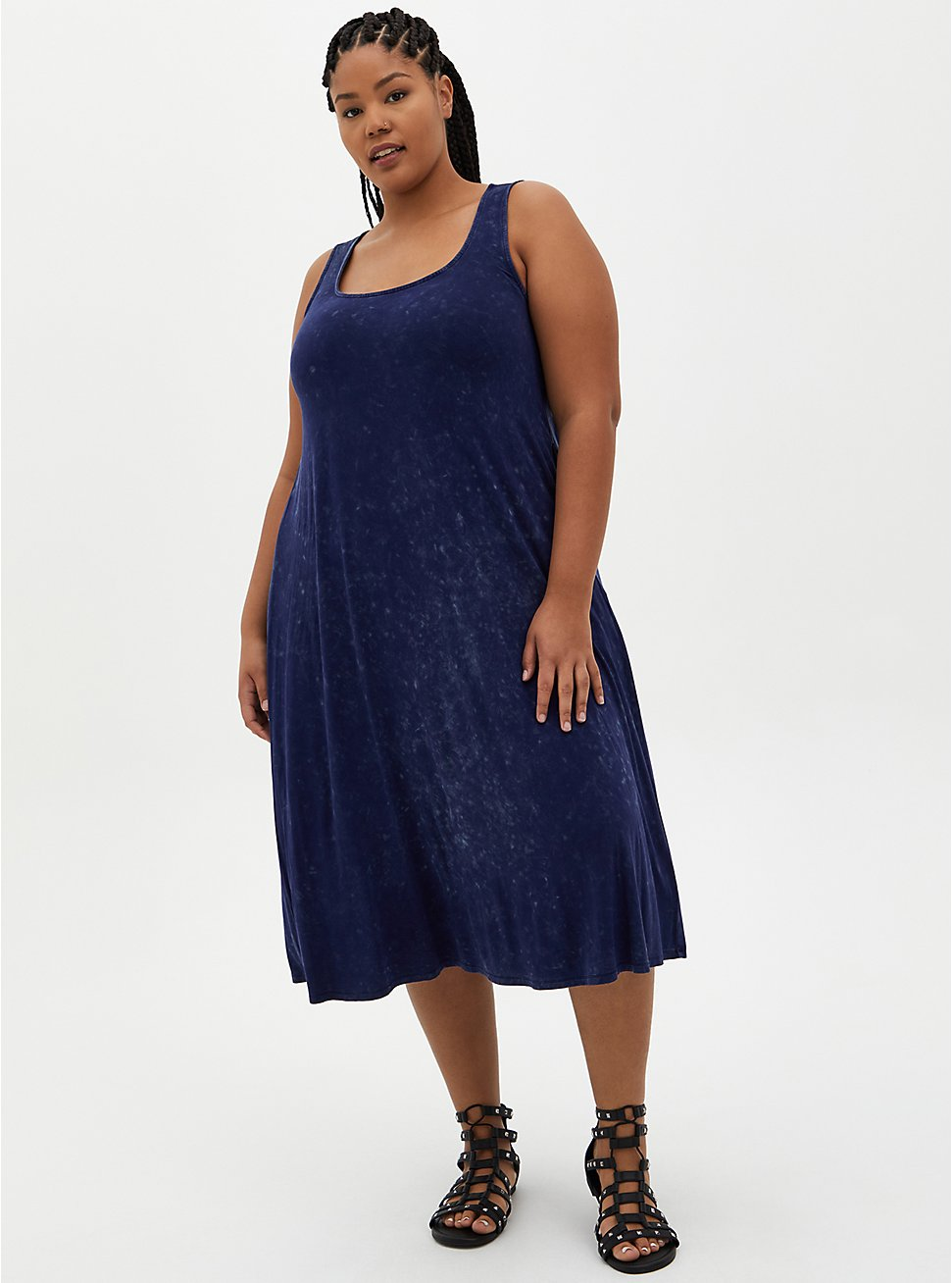 Navy Wash Super Soft Midi Dress , TIE DYE-NAVY, hi-res