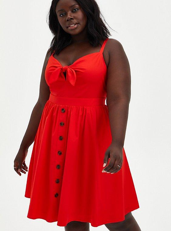 Red Poplin Tie Front Skater Dress , , hi-res
