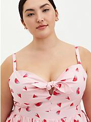 Pink Watermelon Tie Front Skater Dress , WATERMELON LOVE, alternate