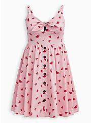 Pink Watermelon Tie Front Skater Dress , WATERMELON LOVE, hi-res