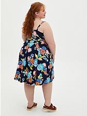 Blue Floral Super Soft Tie Front Skater Dress, FLORAL - BLUE, alternate