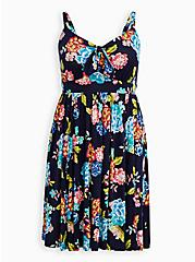 Blue Floral Super Soft Tie Front Skater Dress, FLORAL - BLUE, hi-res