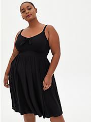 Black  Super Soft Tie Front Skater Dress, DEEP BLACK, hi-res