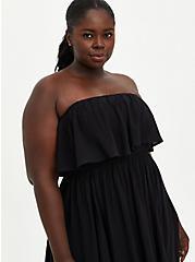 Black Strapless Challis Maxi Dress , DEEP BLACK, alternate