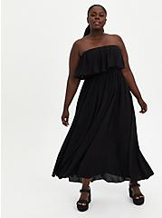 Black Strapless Challis Maxi Dress , DEEP BLACK, hi-res