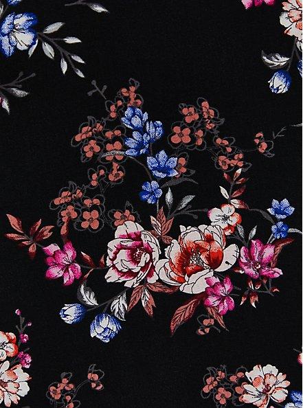 Black Floral Strapless Challis Maxi Dress , FLORAL - BLACK, alternate