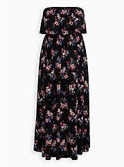Black Floral Strapless Challis Maxi Dress , FLORAL - BLACK, hi-res