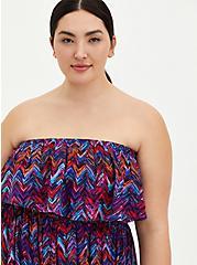 Multi-Chevron Strapless Challis Maxi Dress , CHEVRON MULTICOLOR, alternate