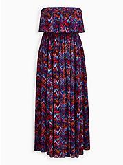 Multi-Chevron Strapless Challis Maxi Dress , CHEVRON MULTICOLOR, hi-res